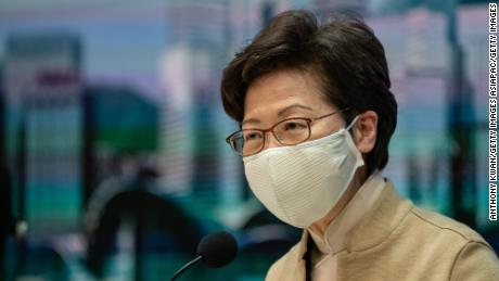 Hong Kong Chief Executive Carrie Lam at a press conference on November 11 after the government ousted four pro-democracy lawmakers.