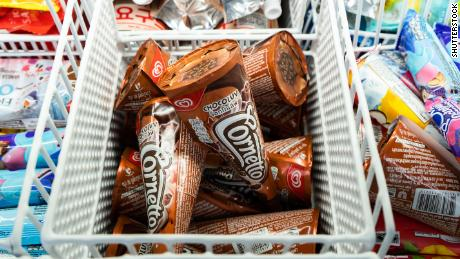 Cornetto ice cream cones in a freezer in Bangkok, Thailand in December 2019.