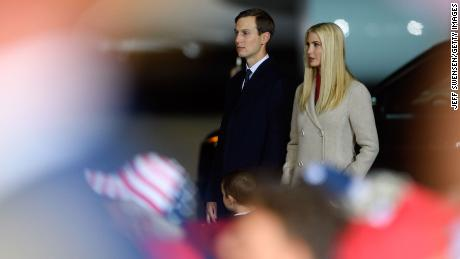 Ivanka Trump and Jared Kushner listen as President Donald Trump speaks at a campaign rally at Atlantic Aviation on September 22, 2020 in Moon Township, Pennsylvania. (Photo by Jeff Swensen/Getty Images)