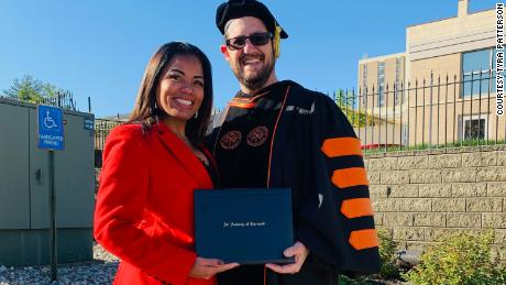 The woman was jailed for 23 years for a crime she claimed not to have committed, and she received a bachelor's degree with honors