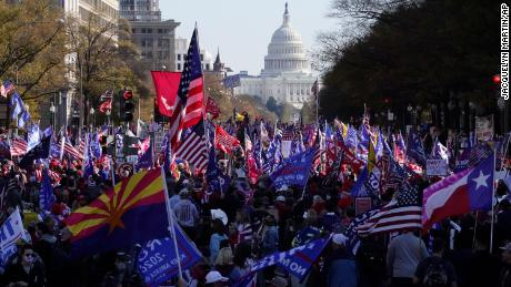 A rally at Freedom Plaza, Saturday Nov. 14, 2020, in Washington.