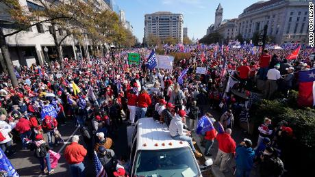 The rally at Freedom Plaza on Saturday, Nov. 14, 2020, in Washington.
