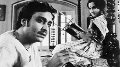 "Soumitra Chatterjee and Madhabi Mukherjee in the 1964 film, ""The Lonely Wife."""