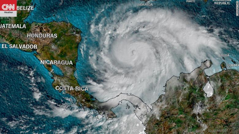 Major Hurricane Iota nearing landfall in Central America