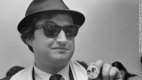 John Belushi in Blues Brothers garb (Richard McCaffrey/Courtesy of SHOWTIME)