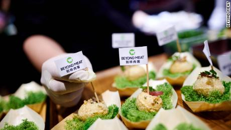 "Beyond Meat serving its new crunchy pork ""bite"" at a tasting in China on Wednesday."
