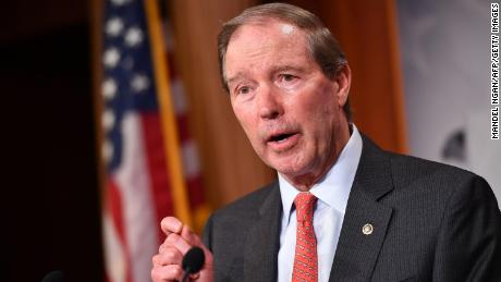 Senator Tom Udall(D-NM), speaks following the Senate voted on the War Powers resolution, at the US Capitol in Washington, DC on February 13, 2020.