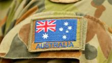 A detail of the flag of Australia on an Australian Army soldier on May 09, 2019 in Seymour, Australia.