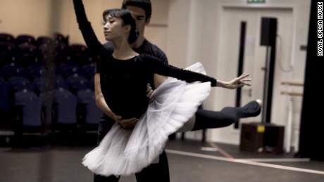 A ballerina trains during lockdown in London.