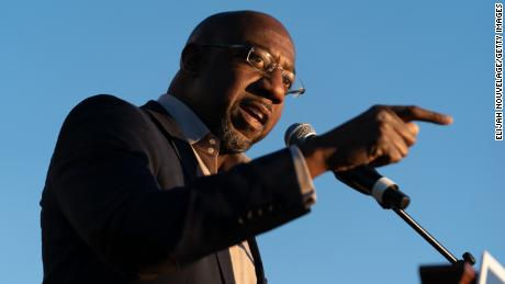 Raphael Warnock speaking at a campaign event on November 19, 2020, in Jonesboro, Georgia.
