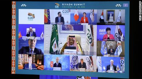 World leaders participate in a virtual G20 meeting, hosted by Saudi Arabia, on Saturday.