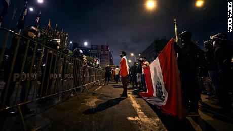 Protesters outside Congress in Lima, Peru on November 17.