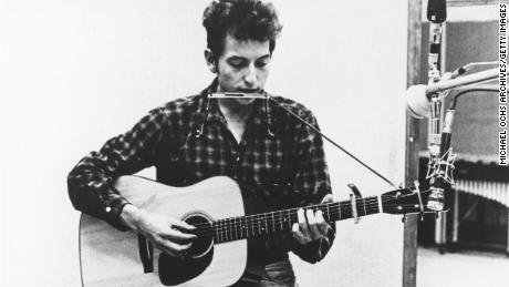 Bob Dylan recording in 1961 or 1962.