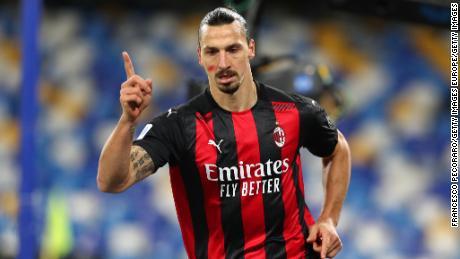 Zlatan Ibrahimovic scored twice for AC Milan before suffering an injury on Sunday.
