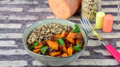Post-Thanksgiving, use up roasted sweet potatoes and other veggie sides in a grain bowl.