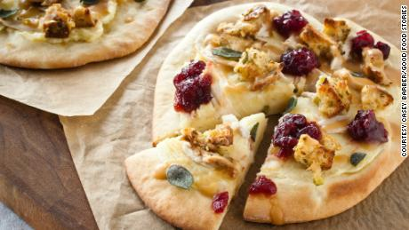 Thanksgiving leftovers pizza reimagines the next-day sandwich.