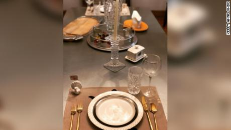 Kelly Anne Odhe dressed up a table for just two.