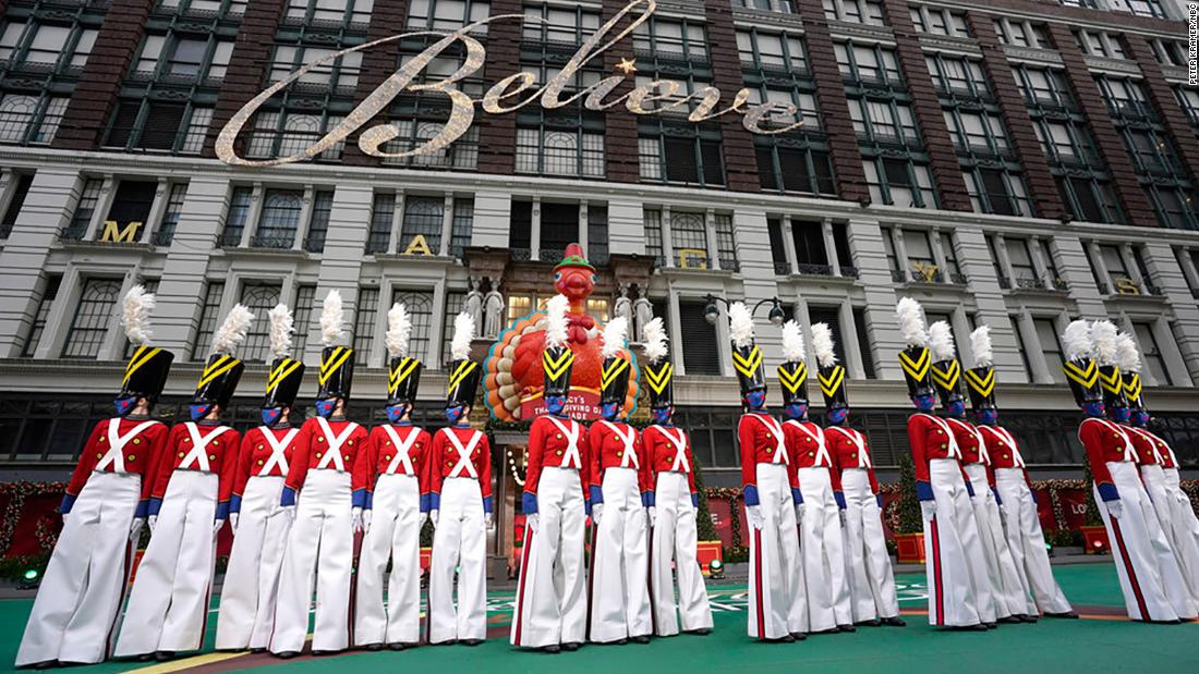 The Radio City Rockettes rehearse for the Macy's Thanksgiving Day Parade in New York City. The traditional parade took place without spectators this year.