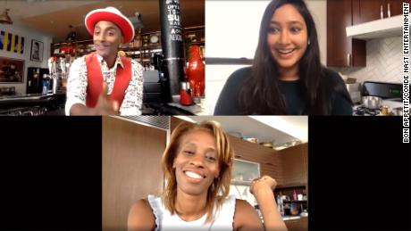 A screenshot from a video where Bon Appétit Editor-in-chief Dawn Davis chats with Bon Appétit Executive Editor Sonia Chopra and chef Marcus Samuelsson, who is also Bon Appétit's global brand advisor.