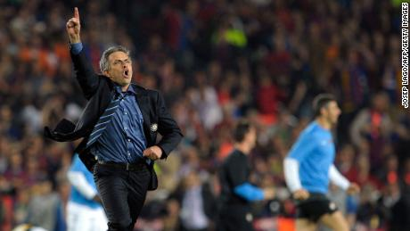 Jose Mourinho ran across the Camp Nou pitch with his finger aloft after beating Barcelona in the 2009-10 Champions League semi-finals as manager of Inter Milan.