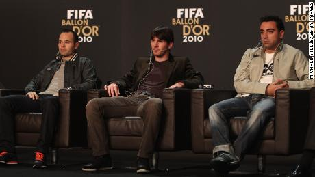 In 2010, Andres Iniesta, Lionel Messi and Xavi (l-r) -- all graduate of Barcelona's La Masia academy -- were the top three candidates for the Ballon d'Or.
