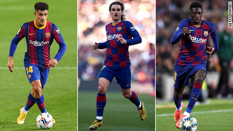 Barcelona spent more on individual transfer fees for Philippe Coutinho ($173.3m), Antoine Griezmann ($143.4m) and Ousmane Dembele ($155.4m) than for the entire team which played Real Madrid in November 2010.