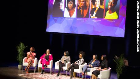 (L-R) Dawn Davis, Michaela Angela Davis, Tatyana Ali, Eunique Jones Gibson, Jazmine Sullivan and Beverly Bond onstage for Black Girl Magic panel during BGR! Fest - Day 2 at The Kennedy Center on March 09, 2019 in Washington, DC.