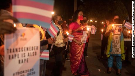 Members of India's LGBTQI community light candles for the Transgender Day of Remembrance on November, 2020 in Pune.