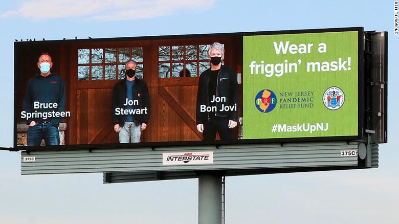 布鲁斯·斯普林斯汀, Jon Bon Jovi and Jon Stewart to fellow New Jerseyans: 'Wear a friggin' mask!'