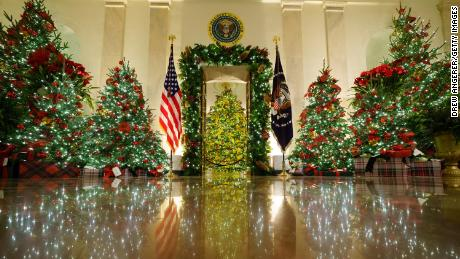 This is the scene that will greet guests in the Cross Hall and the Blue Room in the Trump White House at Christmas parties that are still expected to take place despite the pandemic.