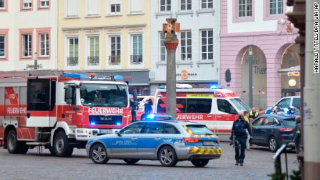 German police say two people were killed when a car drove into a pedestrian zone.