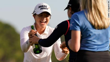 Kim celebrates after winning the LPGA Pelican Women's Championship.