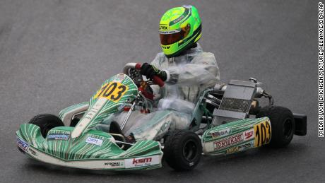 Mick Schumacher racing as Mick Junior for KSM Racing Team at the German Karting Championship on 5 October 2014, in Genk, Belgium.