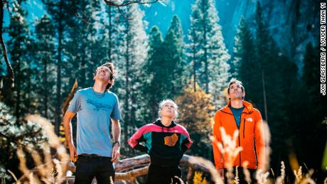 Harrington (middle) looks up at El Capitan with Adrian Ballinger (L) and Alex Honnold (R).