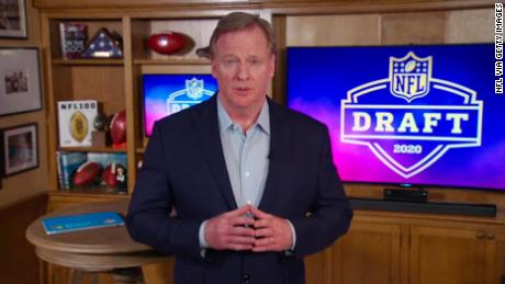 NFL commissioner Roger Goodell speaks from his home in Bronxville, New York during the first round of the 2020 NFL Draft in April.