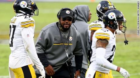 Pittsburgh Steelers' head coach Mike Tomlin celebrates during his side's game against the Baltimore Ravens on November 1.
