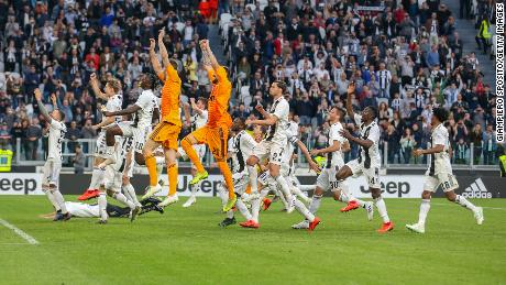 Juventus players celebrate after wining the leaue title in April, 2019.