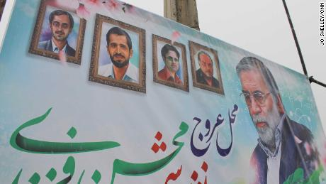Fakhrizadeh depicted with four other Iranian nuclear scientists -- from left: Majid Shahriari, Mostafa Ahmadi Roshan, Dariush Rezaei-Nejad, Massoud Ali Mohammadi -- who Tehran says have been assassinated previously.