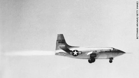 The Bell X-1 on its first powered takeoff.
