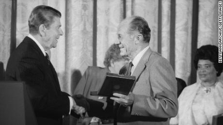 President Ronald Reagan presents the Presidential Medal of Freedom, the nation's highest civilian award, to Chuck Yeager at a White House luncheon in 1985.