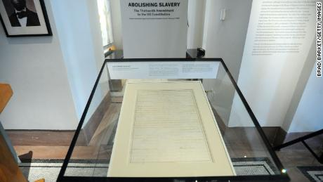 The unveiling ceremony for the Thirteenth Amendment at the New-York Historical Society on February 1, 2012 a New York City.
