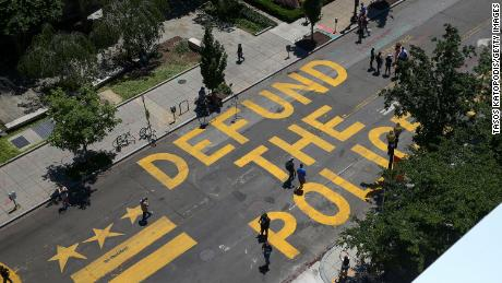 """Defund The Police"" was painted on the street near the White House in June."