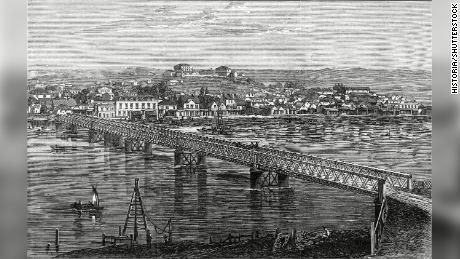 A view of the Whanganui River in 1872.