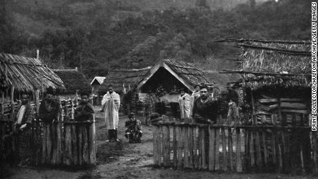 A Māori pa, or fortified village, on the Whanganui River, on the North Island of New Zealand in 1902.