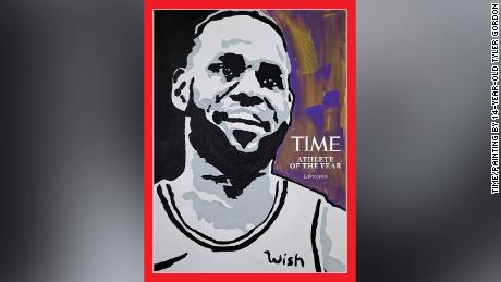 The cover of Time featuring a painting of James done by 14-year-old Tyler Gordon.