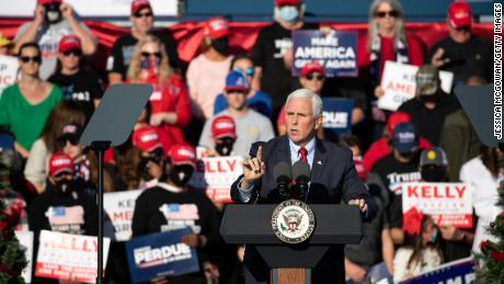 Vice President Mike Pence speaks to the crowd during a rally Thursday in Augusta, Georgia.