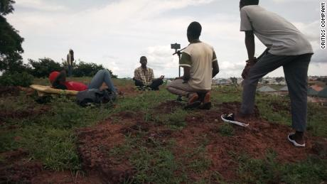 "Behind-the-scenes photo from one of their films titled ""Z the beginning,"" in Kaduna, Nigeria."