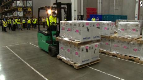 Covid-19 vaccines are packaged at the Pfizer facility on Sunday.