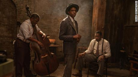 Chadwick Boseman (center) could win a posthumous Oscar for 'Ma Rainey's Black Bottom' (David Lee / Netflix).