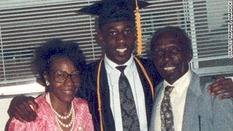 Raphael Warnock with his parents, Jonathan and Verlene Warnock. Both of his parents were Pentecostal pastors.